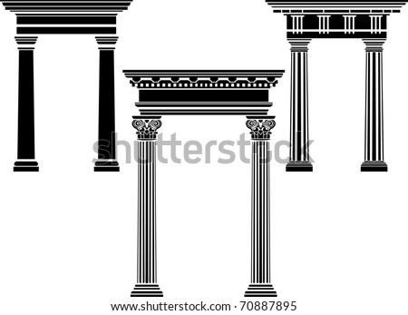 Classic column stencil set - stock vector