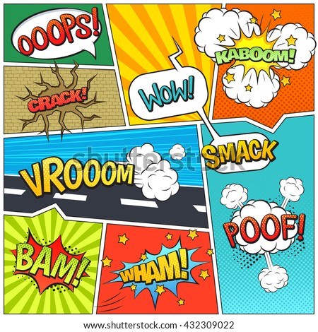 Classic comics book page sample with speech exclamations wow oops bam bubbles patterns composition abstract vector illustration   - stock vector