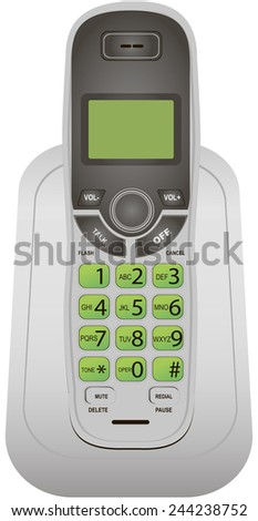 Classic cordless phone for office and home use. Vector illustration. - stock vector