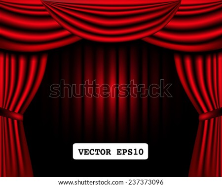 classic curtain on theater stage frame, vector illustration.