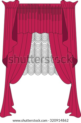 Classic Curtains . Curtains Drawn Vector . Making Windows In Classic Style