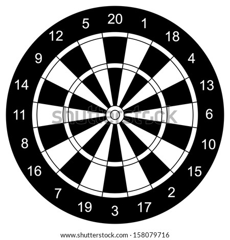 Classic Darts Board vector, with Twenty Black and White Sectors. - stock vector
