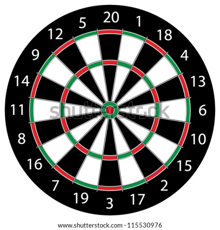 Classic Darts Board with Twenty Black and White Sectors - stock vector