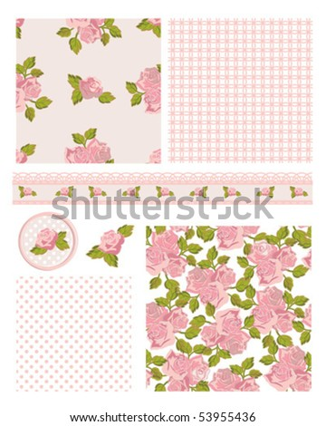 Classic design Elements for scrap-booking, greeting cards, wallpaper, textiles, stencils all patterns are repeat. - stock vector