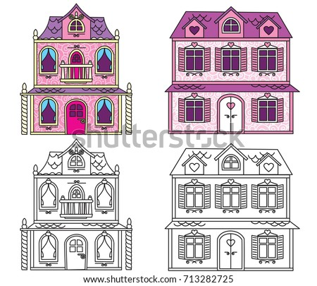 Classic Dollhouse Illustration Vector Cartoon Image Stock