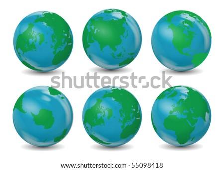 Classic Earth Globes Vector - stock vector