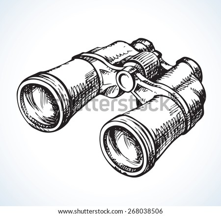 Classic efficient hand rough metallic black binocular isolated on white. Vector freehand ink drawn background sketch in scribble antiquity style of pen on paper. View close-up with space for text - stock vector