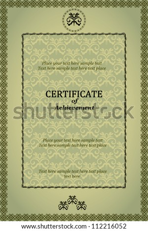 Classic elegant certificate of achievement, luxury green colored - stock vector