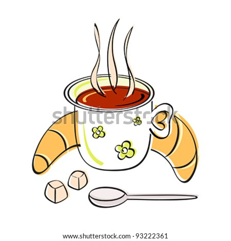 Classic european morning - coffee, croissant and sugar - stock vector