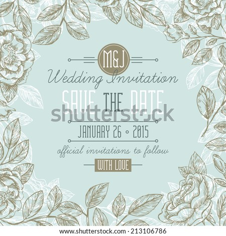 Classic Floral Wedding Invitation - stock vector