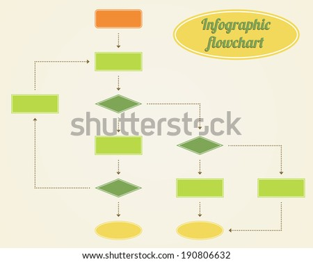 Classic flowchart infographic diagram in vintage colors  - stock vector