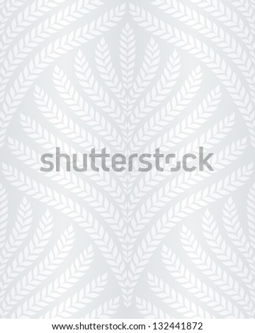 classic foliage seamless pattern in white and light gray - stock vector