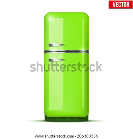 Classic Fridge refrigerator in green color. Household appliances. Vector isolated on white background - stock vector