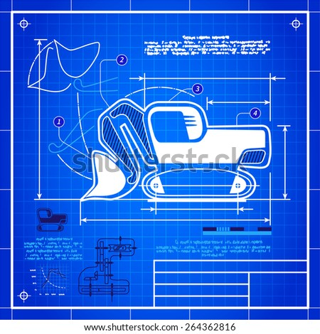 Classic front shovel bucket excavator symbol stylized blueprint technical drawing. White symbol on blue grid background - stock vector