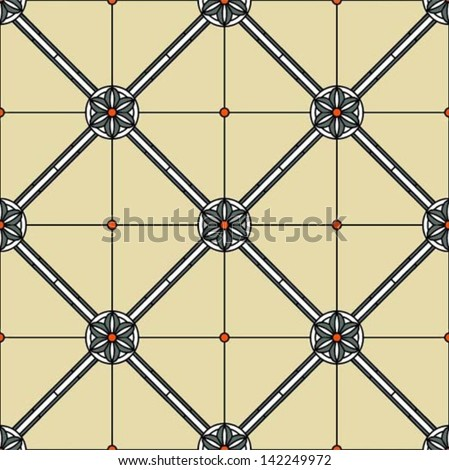 Classic geometric ornament with flowers and diagonals in stained glass style, vector illustration, seamless pattern, tile design - stock vector