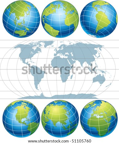 Classic Globes with World Map, vector elements with easy editable simple gradients