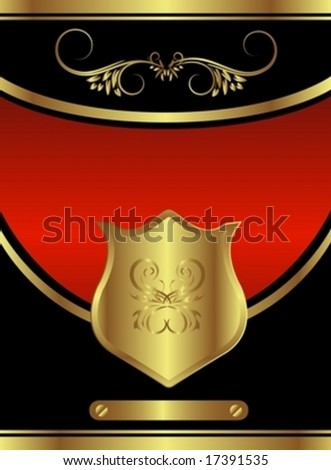Classic golden red royal backround with floral elements and a central shield