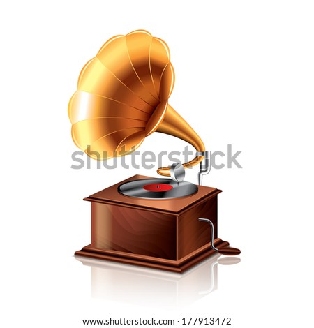Classic gramophone isolated on white photo-realistic vector illustration - stock vector