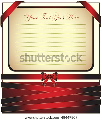 Classic greeting card with ribbon for invitation or congratulation - stock vector