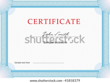 Classic guilloche border for diploma or certificate. Layers are separated! Vector. - stock vector