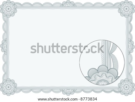 Classic guilloche border for diploma or certificate. Lines not converted to forms.  A4/ CMYK Layers are separated! - stock vector