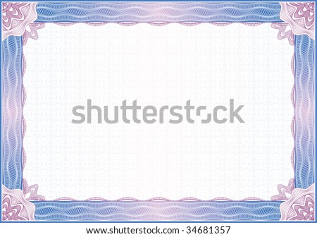 Classic guilloche border for diploma or certificate / vector - stock vector