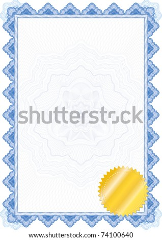 Classic guilloche border for diploma or certificate / vector/ with seal and protective ornament in the center /  Layers are separated! Editing is easy - stock vector
