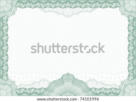 Classic guilloche border for diploma or certificate with protective  ornament / vector/ with ornament in the cener /  A4 horizontal / CMYK color /  Layers are separated! Editing is easy - stock vector