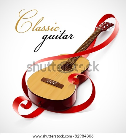classic guitar as clef symbol vector illustration isolated on white background - stock vector