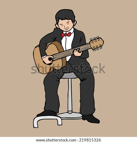 Classic guitarist in concert cartoon vector - stock vector