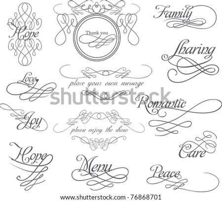 classic hand-drawn calligraphy set - stock vector