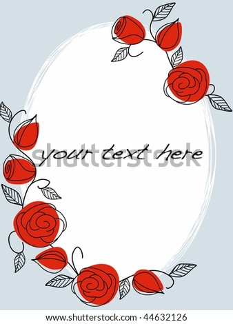 Classic hand drawn oval frame with roses (EPS10); JPG version also available