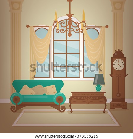 Classic Home Interior of Living Room with a Chandelier and Vintage Clocks. Home Sweet Home. Vector illustration in flat style - stock vector