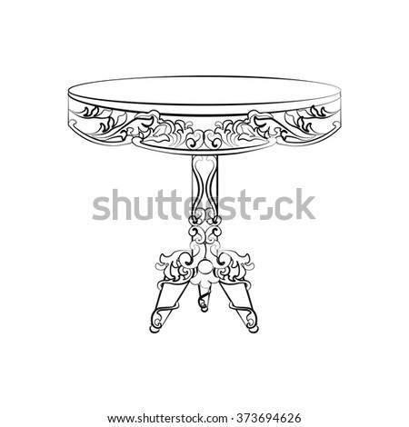 Classic imperial table with rococo ornament. Vector