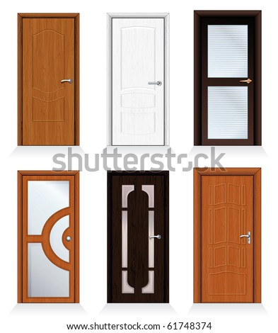 Classic interior and front wooden doors - detailed realistic vector for your design.-to see more similar images, please visit my Gallery - stock vector