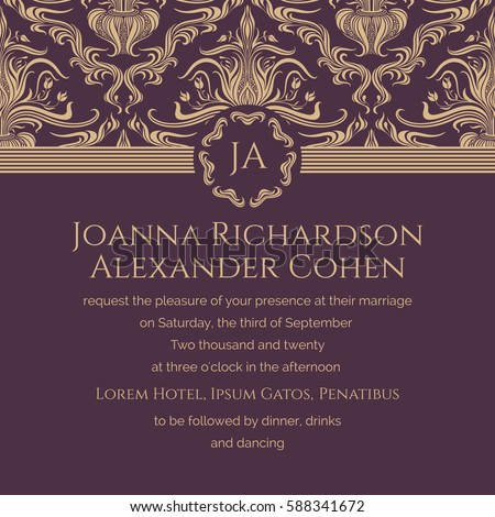 Classic invite sample goldenburgundy colors wedding stock vector classic invite sample in golden burgundy colors wedding invitation text background with floral stopboris Image collections