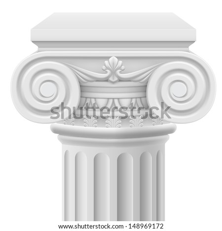 Classic ionic column. Illustration on white background