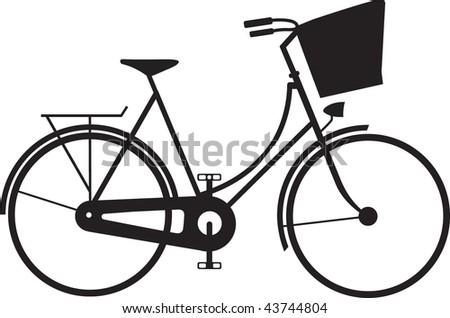 Classic ladies shopping bike silhouette - stock vector