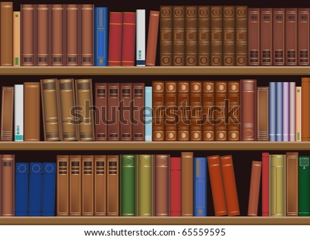 Classic library, seamless, use this pattern for create book background. Vector. Easy resized. - stock vector