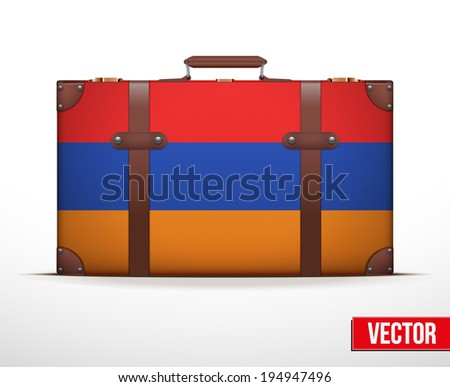 Classic luggage suitcase with flag Armenia for travel. Vector Illustration. Editable and isolated. - stock vector