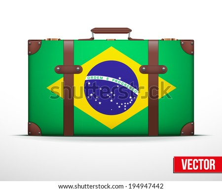Classic luggage suitcase with flag Brazil for travel. Vector Illustration. Editable and isolated. - stock vector