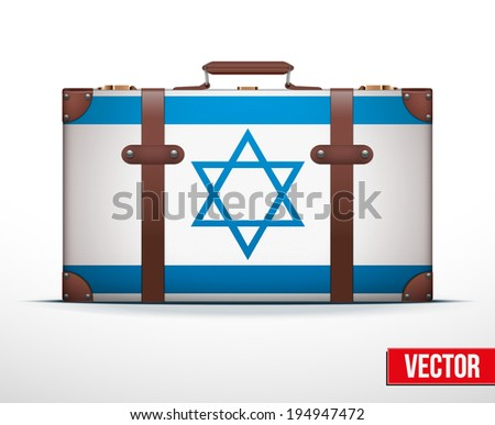 Classic luggage suitcase with flag Israel for travel. Vector Illustration. Editable and isolated. - stock vector