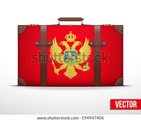 Classic luggage suitcase with flag Montenegro for travel. Vector Illustration. Editable and isolated. - stock vector
