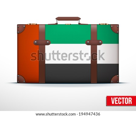 Classic luggage suitcase with flag United Arab Emirates for travel. Vector Illustration. Editable and isolated. - stock vector