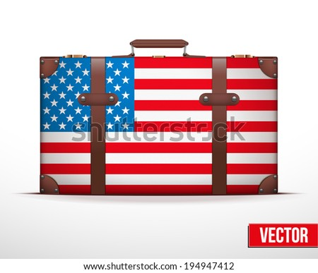 Classic luggage suitcase with flag United States of America for travel. Vector Illustration. Editable and isolated. - stock vector