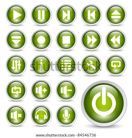 Classic media player buttons icon set. - stock vector