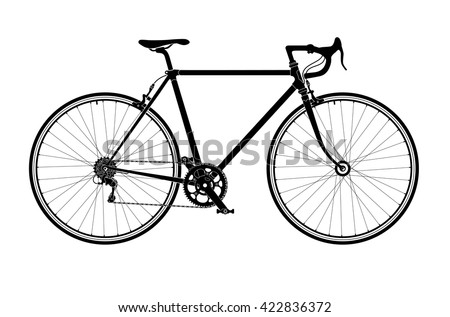 Classic mens town, road bike silhouette, detailed vector illustration. - stock vector