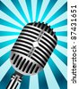 Classic Microphone on lined background - stock vector