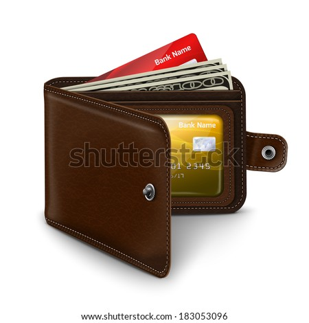 Classic modern brown leather pocket open wallet with credit card money bills and id document vector illustration - stock vector