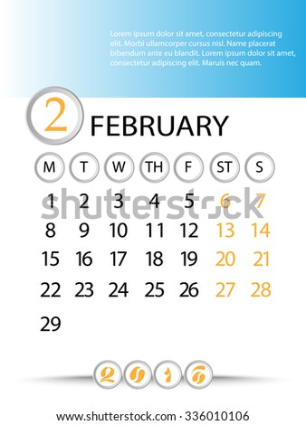 Classic month planning calendar in English for February 2016, Monday to Sunday  - stock vector